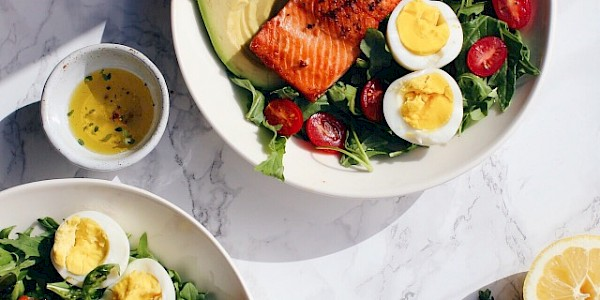 Salmon Salad with Avocado, Eggs & Lemon Thyme Dressing