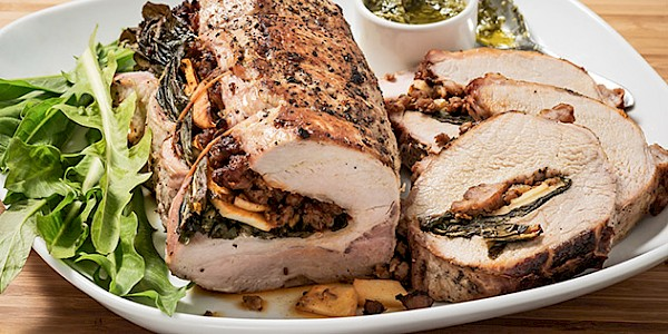 "Dandelion Greens Stuffed Pork Roast with Apple and Dandelion ""Pistou"" Sauce"