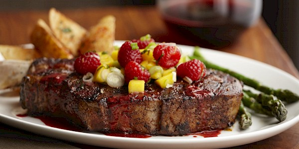 Bourbon Raspberry Steak with Raspberry Mango Salsa