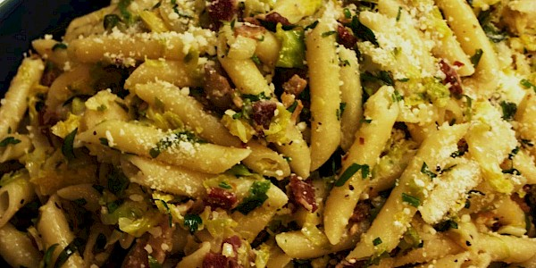 Penne Pasta with Brussels Sprouts & Bacon
