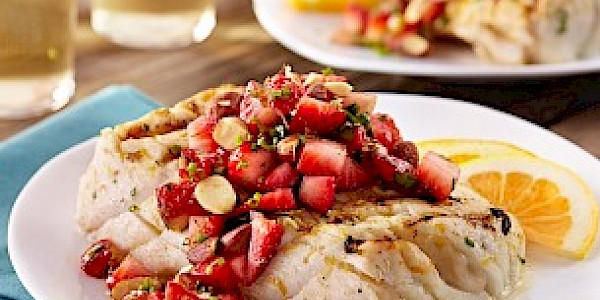 Citrus Halibut & Strawberry Relish